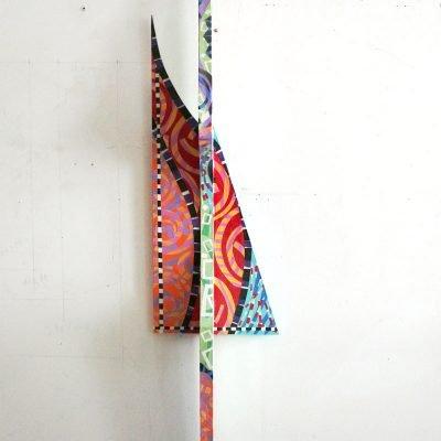 acrylique collage de toile peinte sur toile, 203x42x29 cm