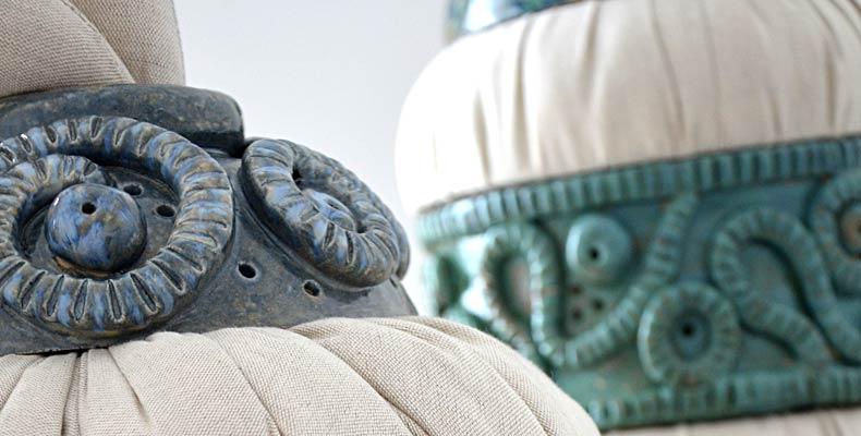 Frédérique Fleury, séries contention : sculptures textiles et céramiques