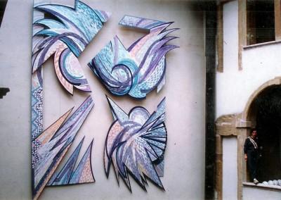 1986, Sans-titre, acrylique et pastels sur bois découpé